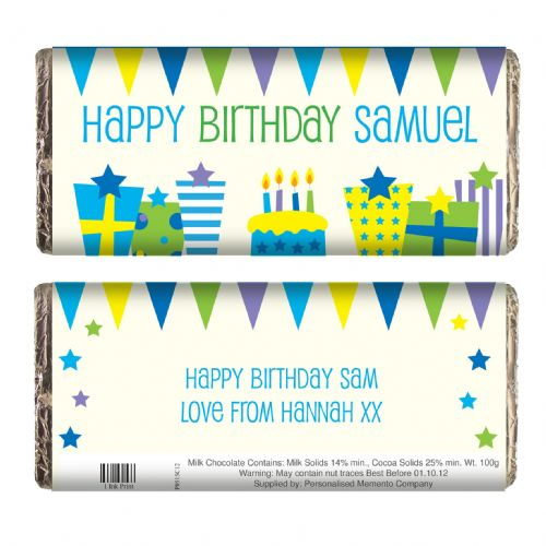 Personalised Blue Birthday Presents Chocolate Bar